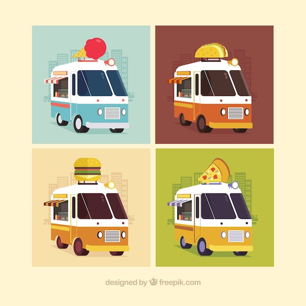 Modern set of colorful food trucks
