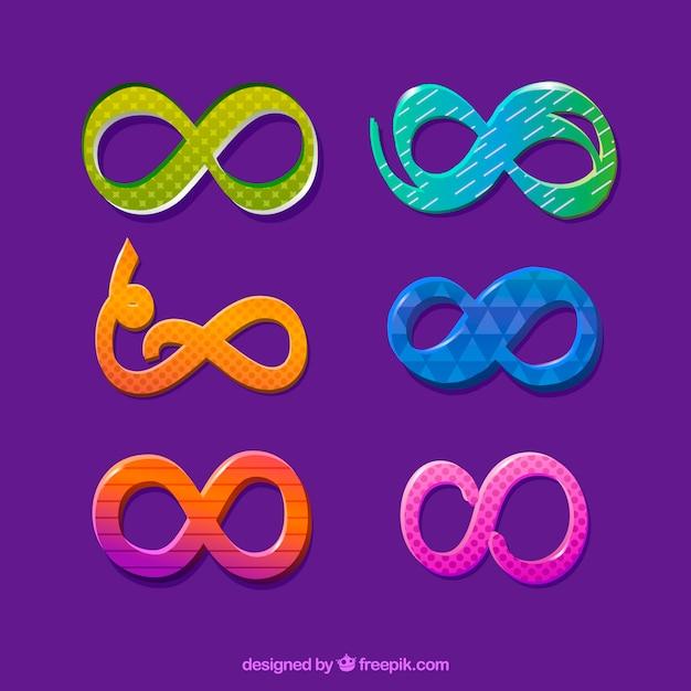 Современный набор красочных символов бесконечности Бесплатные векторы