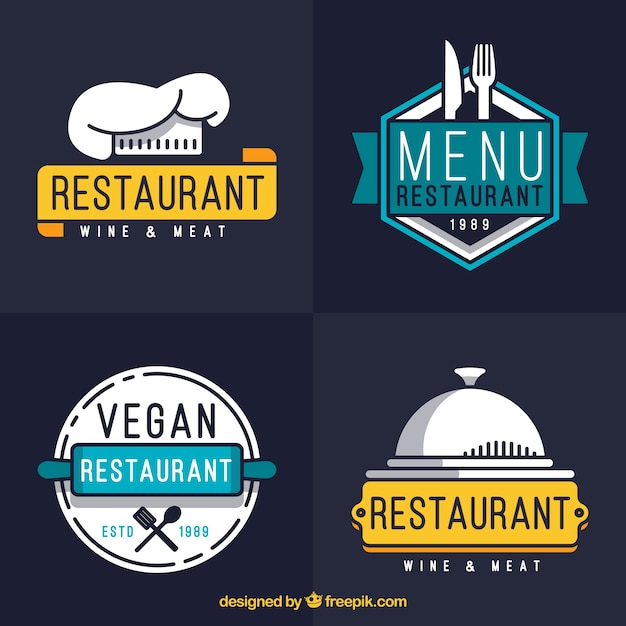 Modern set of cool restaurant logos