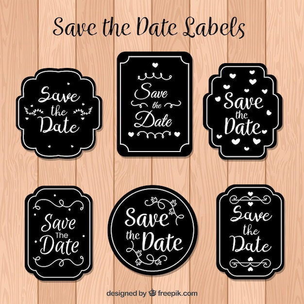 Modern set of elegant wedding labels Free Vector