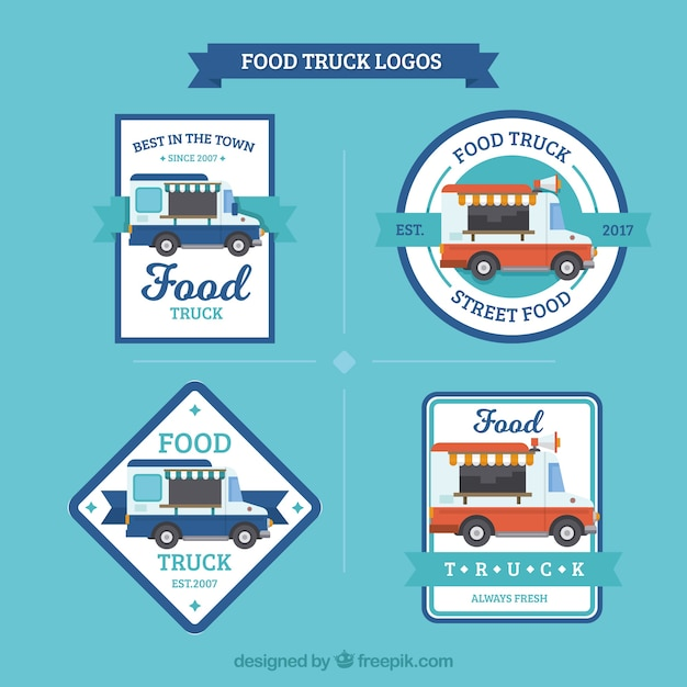 Modern set of food truck logos