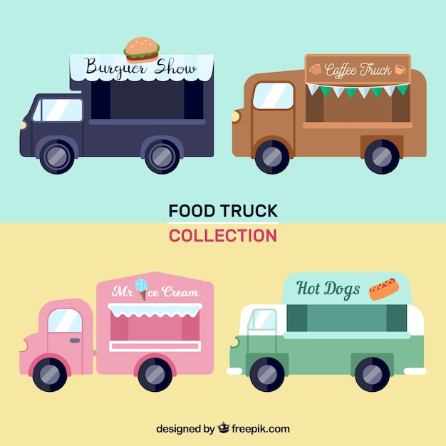 Modern set of food trucks