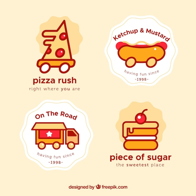 Modern set of fun food truck logos