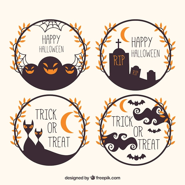 Modern set of halloween circular frames Vector | Free Download