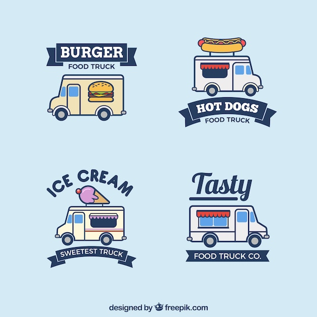 Modern set of hand drawn food truck logos