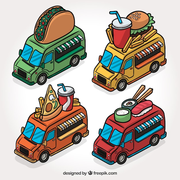 Modern set of hand drawn food trucks