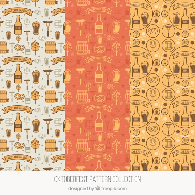 Modern set of hand drawn patterns for oktoberfest
