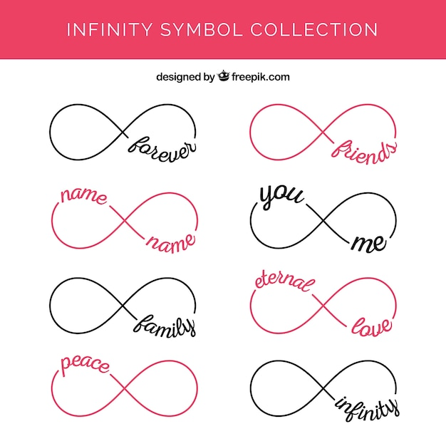 Modern Set Of Infinity Symbols With Words Vector Free Download