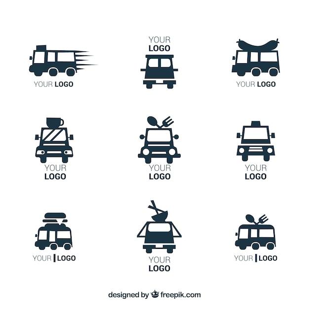 Modern set of minimalist food truck logos