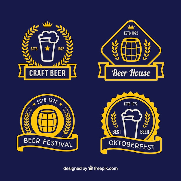 Modern set of minimalist oktoberfest badges
