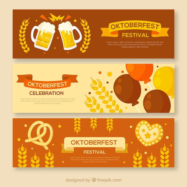 Modern set of oktoberfest banners