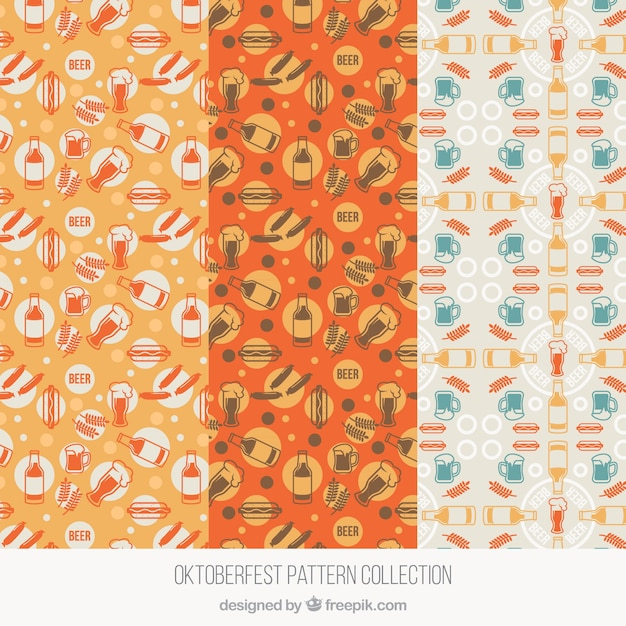 Modern set of oktoberfest patterns