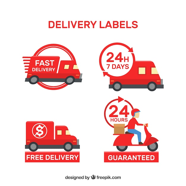 Modern set of red delivery labels