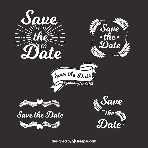 Modern set of wedding labels on blackboard