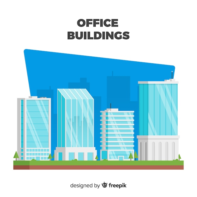 Modern Set Of Office Buildings With Flat Design Vector Free Download