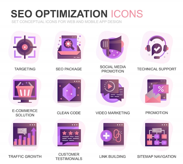 Modern set seo and web optimization gradient flat icons Premium Vector