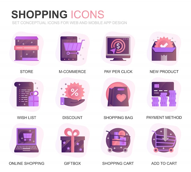 Modern set shopping and e-commerce gradient flat icons Premium Vector