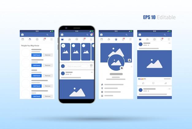 Modern set of social network photo Premium Vector