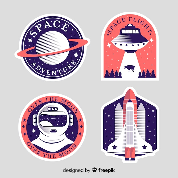 Modern set of space stickers Free Vector