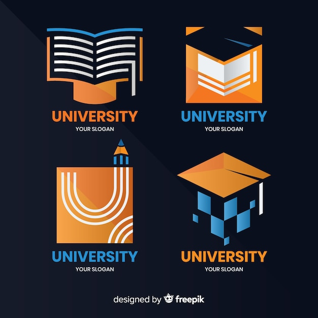 Modern set of university logos with flat design Free Vector