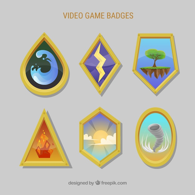 Modern set of videogame badges Free Vector
