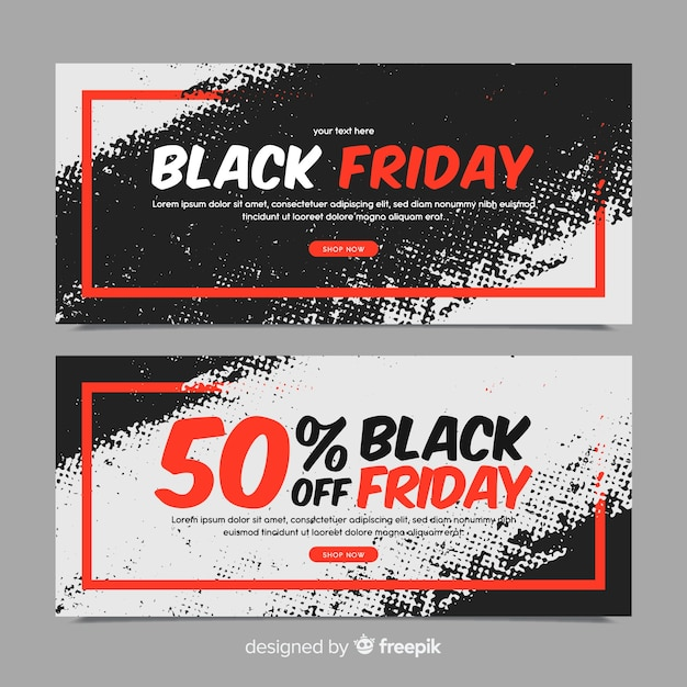 Modern set of watercolor black friday banners Free Vector