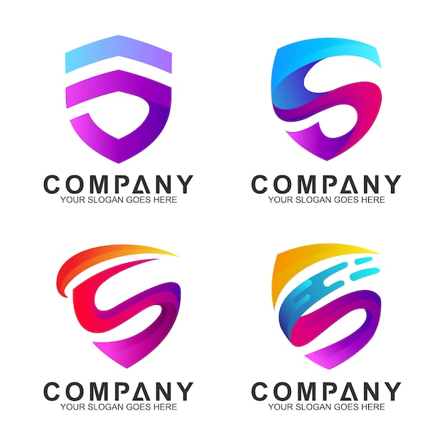 Modern shield with initial letter s logo design inspiration Premium Vector