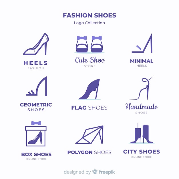 modern shoes logo template collection vector free download