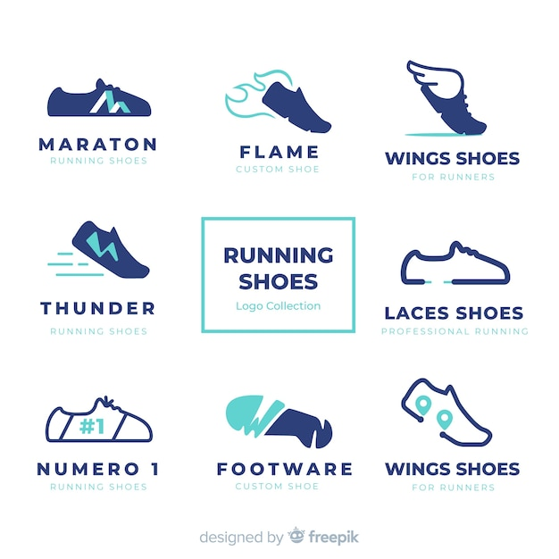 Modern shoes logo template collection Free Vector