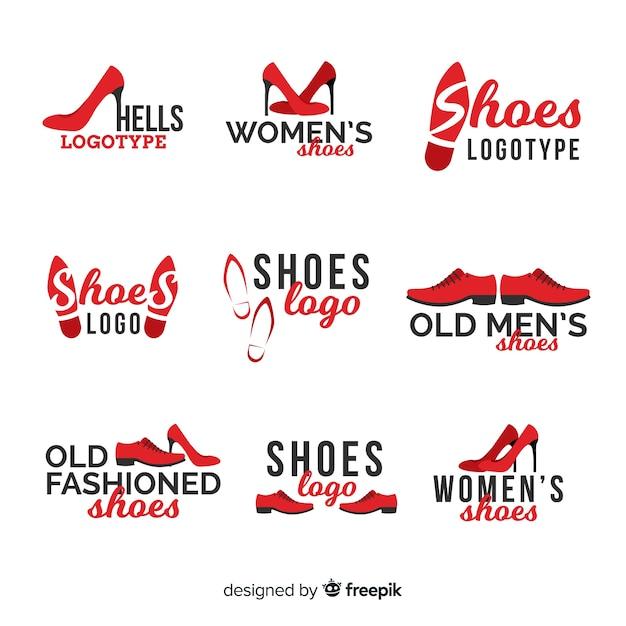 Коллекция шаблонов логотипов современной обуви Бесплатные векторы
