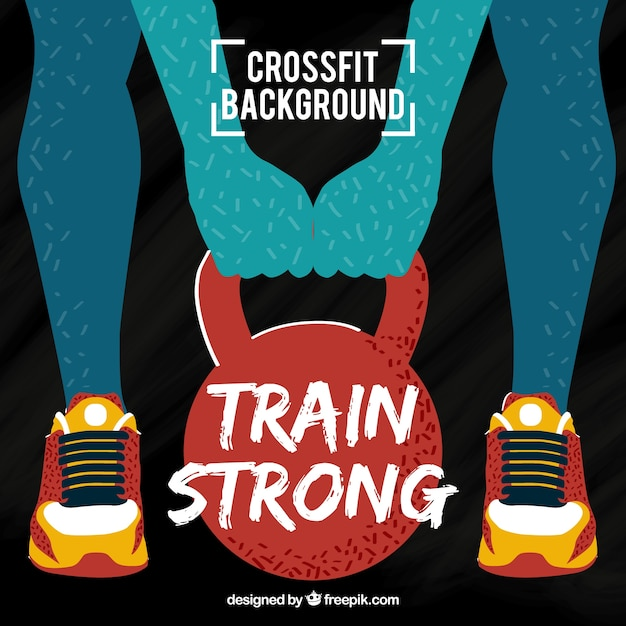 Modern silhouette background lifting weights Free Vector
