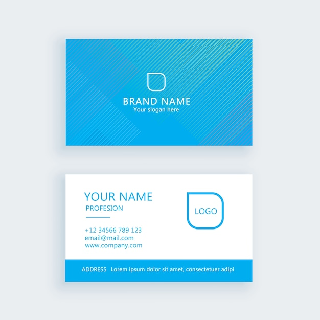 Modern simple business card set, template or visiting card Premium Vector