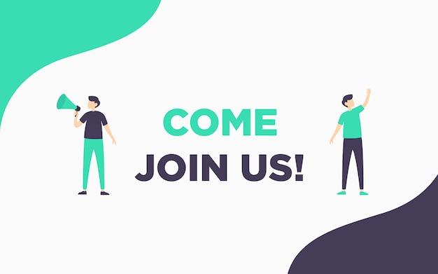 Modern simple hiring banner illustration Premium Vector