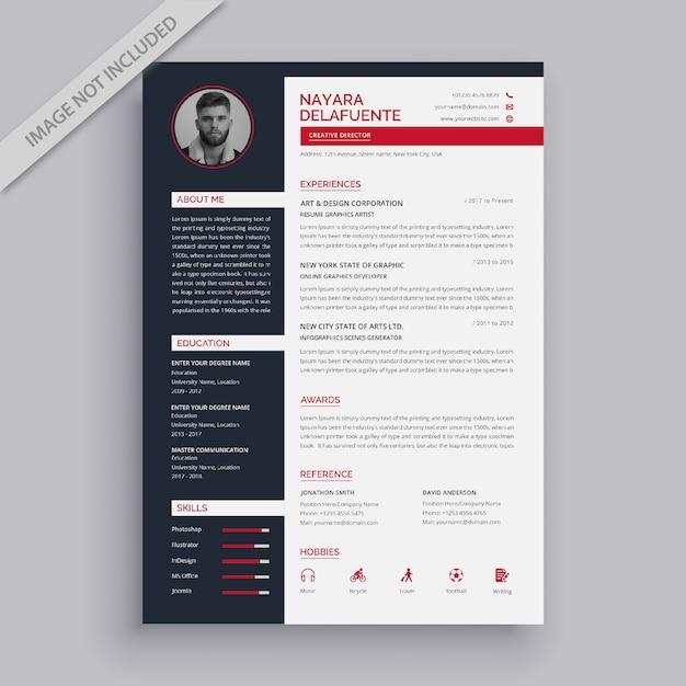 Modern simple resume template Premium Vector