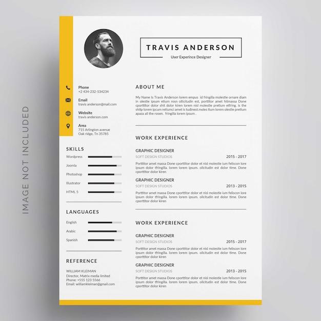 Modern simple template for curriculum Premium Vector