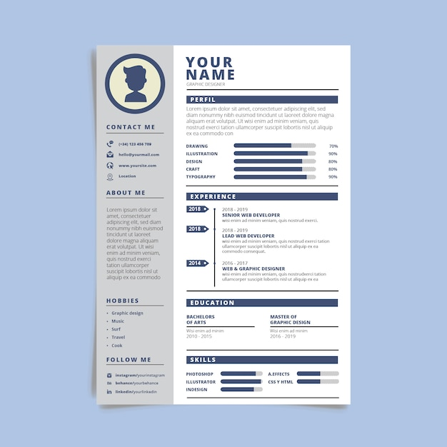 Modern simple template curriculum Free Vector