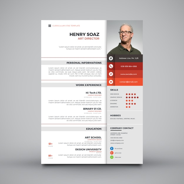modern simple template for curriculum vector
