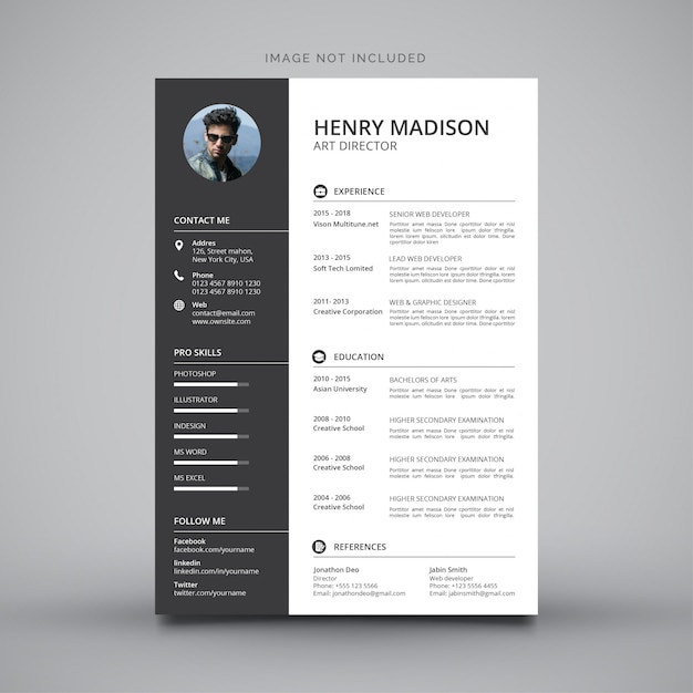 Modern simple template for curriculum Free Vector