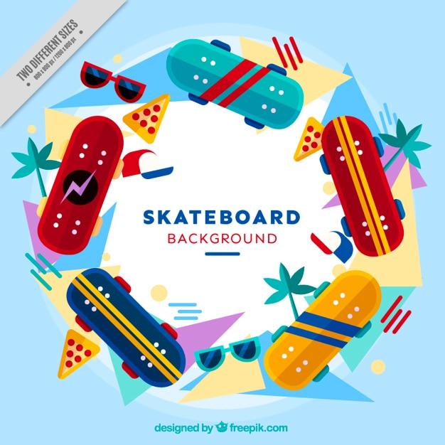 Modern skateboards background