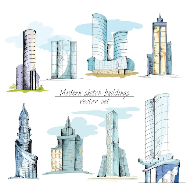 Modern sketch buildings colored Free Vector