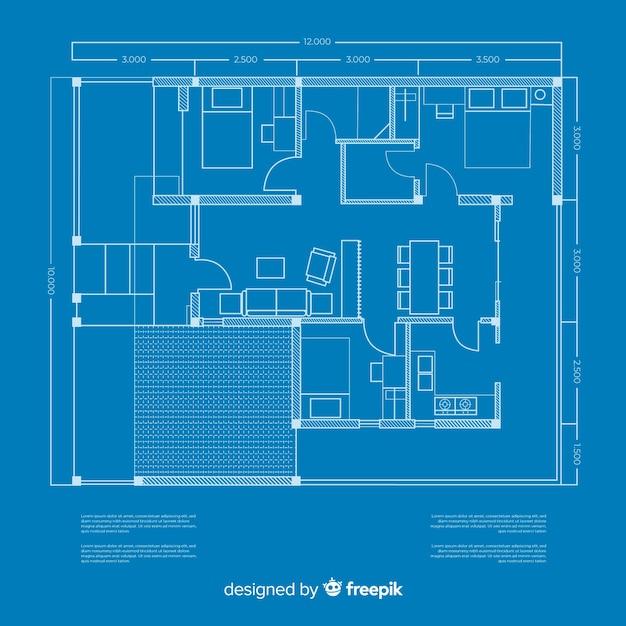 Modern sketching plan of blueprint house Free Vector