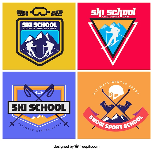 Modern ski school badges Free Vector
