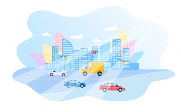 Modern smart city daily routing flat illustration Premium Vector