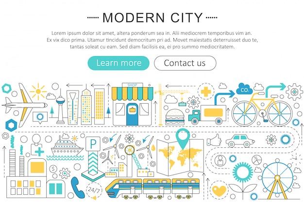 Modern smart city flat line concept Premium Vector