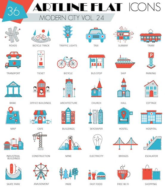 Modern smart city flat line icons set Premium Vector