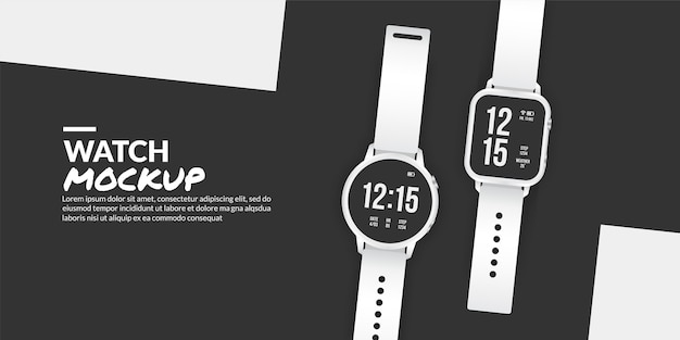 Modern smart watch mockup isolated with copy space at side Premium Vector