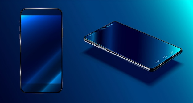 Modern smartphone  dark blue surface in perspective view with reflection, realistic 3d phone Premium Vector