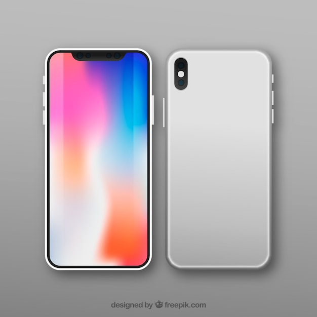 Modern smartphone design with colorful screen Free Vector