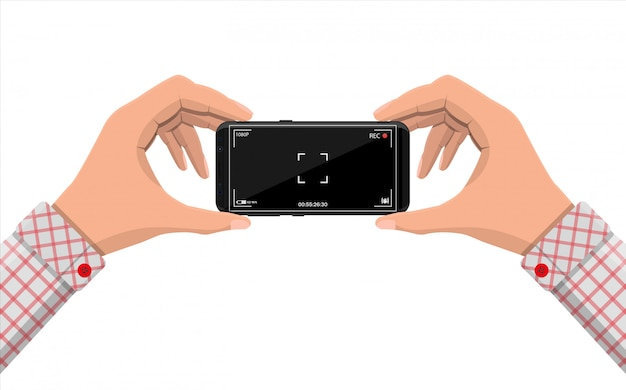 Modern smartphone with camera application. Premium Vector