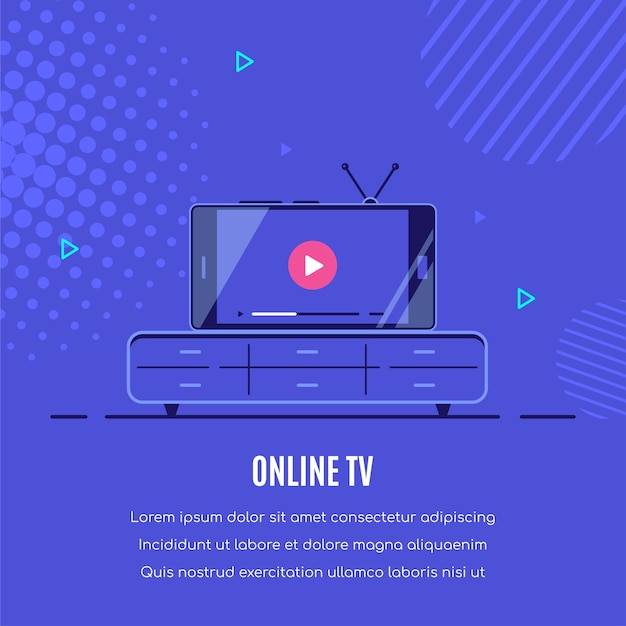 Modern smartphone with online video player on screen. mobile streaming, live podcast, mobile video, tv  . Premium Vector